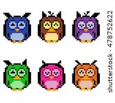 illustration of pixel owls | Shutterstock . vector #478752622