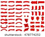 Ribbon vector icon red color on white background. Banner isolated shapes illustration of gift and accessory. Christmas sticker and decoration for app and web. Label, badge and borders collection. | Shutterstock vector #478774252