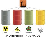 four colored steel barrels with ... | Shutterstock .eps vector #47879701