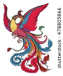 hand drawn colorful phoenix...