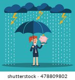 A Business Woman With Umbrella...