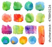 set of watercolor dabs a brush... | Shutterstock . vector #478843126