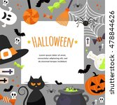 halloween background. vector... | Shutterstock .eps vector #478844626