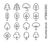 tree thin line vector icons set....