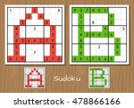 sudoku set with the answers. a  ... | Shutterstock . vector #478866166