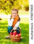 schoolgirl with apples in... | Shutterstock . vector #478875805
