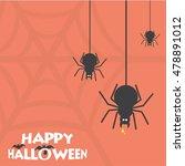 hanging black spider happy... | Shutterstock .eps vector #478891012