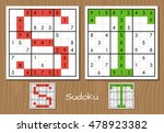 sudoku set with answers. s  t... | Shutterstock . vector #478923382