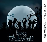 halloween background. zombie... | Shutterstock .eps vector #478945012