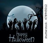 halloween background. zombie... | Shutterstock .eps vector #478945012