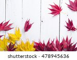 Autumn Leaves On White Wooden...