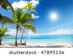 caribbean sea and coconut palms | Shutterstock . vector #47895136