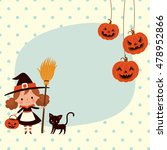 halloween cute little witch and ... | Shutterstock .eps vector #478952866