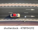 Top View Of A Taxi Driving On ...