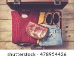 open suitcase with casual...   Shutterstock . vector #478954426