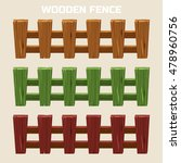 Cartoon Colorful Wooden Fence ...
