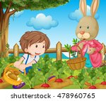 kid and bunny picking out... | Shutterstock .eps vector #478960765