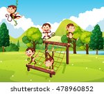 monkeys playing on climbing... | Shutterstock .eps vector #478960852