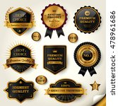 luxury black labels set  glossy ... | Shutterstock .eps vector #478961686