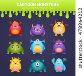funny cartoon monsters set with ... | Shutterstock .eps vector #478964212