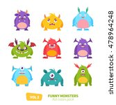 Funny Cartoon Monsters Set With ...