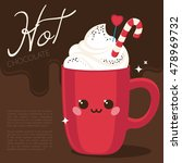 cute red cup  hot chocolate ... | Shutterstock .eps vector #478969732