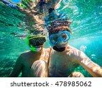 selfie underwater at seaside | Shutterstock . vector #478985062