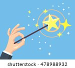 hand hold magic wand . vector... | Shutterstock .eps vector #478988932