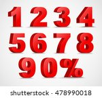set 3d of figures  of red color ... | Shutterstock .eps vector #478990018