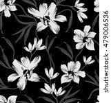 Stock vector black and white floral background pattern 479006536