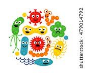 Set Of Cute Funny Bacterias ...