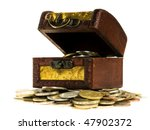 Wooden Treasure  Chest Of Mone...