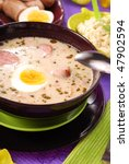 traditional white borscht with horseradish for easter - stock photo