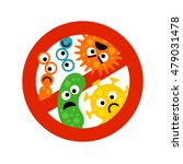 stop bacterium sign with cute... | Shutterstock .eps vector #479031478
