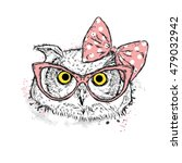 cute owl with bow and glasses.... | Shutterstock .eps vector #479032942