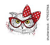 cute owl with bow and glasses.... | Shutterstock .eps vector #479032966