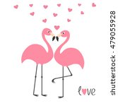 pink flamingo couple and hearts.... | Shutterstock .eps vector #479055928