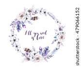 watercolor floral boho  flower... | Shutterstock . vector #479066152