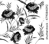 black and white floral  pattern | Shutterstock .eps vector #479084092