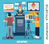 flat concept of live report ... | Shutterstock .eps vector #479118718