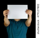young man holding white blank...   Shutterstock . vector #479127802