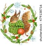 Cute Squirrel. Christmas Card....