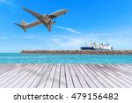Small photo of Transport logistic concept, Air transport, Air freight, Cargo plane, Cargo Ship, Wood bridge.
