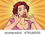 woman eating a chicken leg  pop ... | Shutterstock .eps vector #479168335