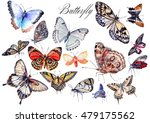 Watercolor Set With Butterflie...