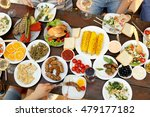 friends eating on picnic | Shutterstock . vector #479177182