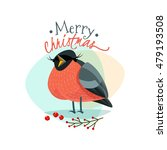 christmas logo with funny... | Shutterstock .eps vector #479193508