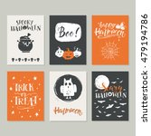 vector halloween greeting card  ... | Shutterstock .eps vector #479194786