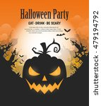 vector halloween night... | Shutterstock .eps vector #479194792