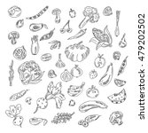 set doodles elements vegetables ... | Shutterstock .eps vector #479202502